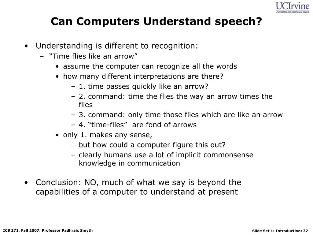Can Computers Understand speech?