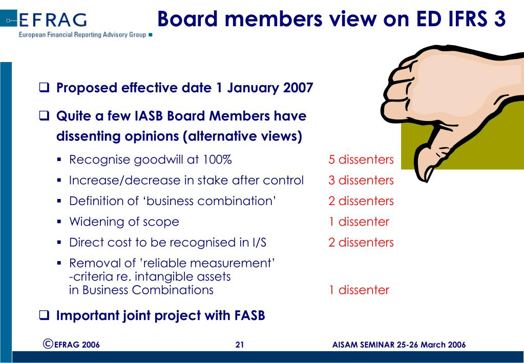 Board members view on ED IFRS 3