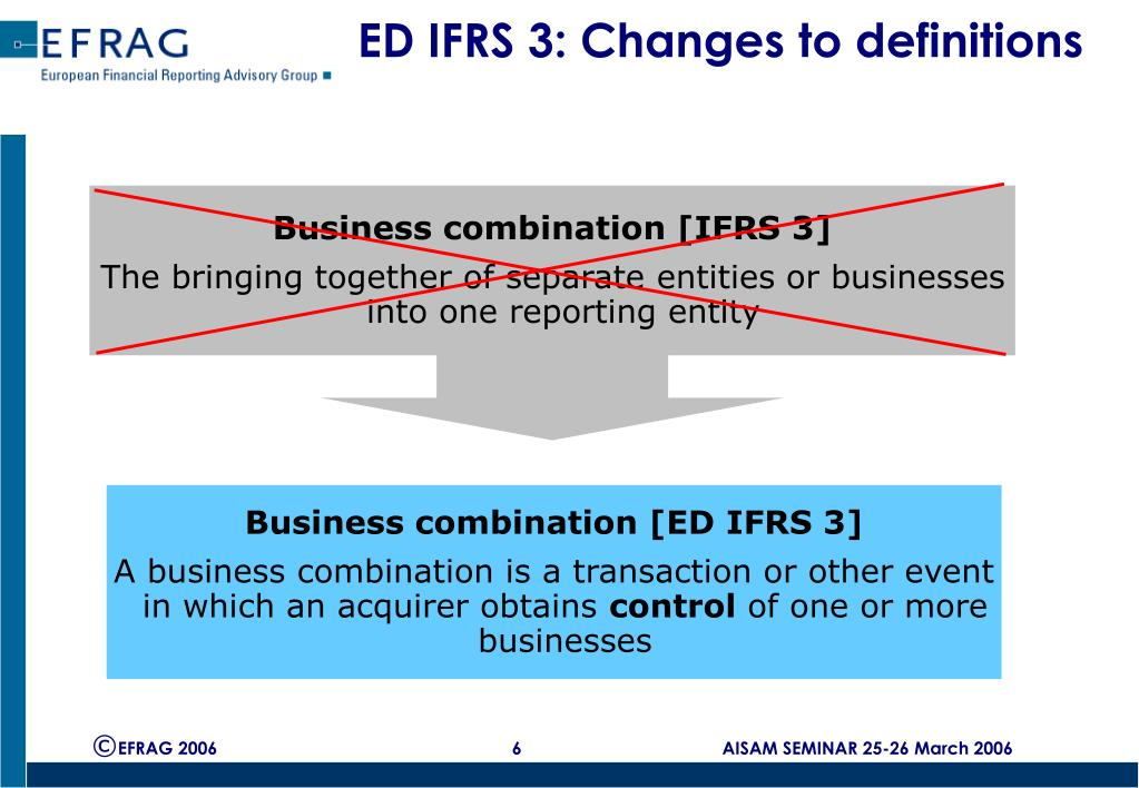 ED IFRS 3: Changes to definitions