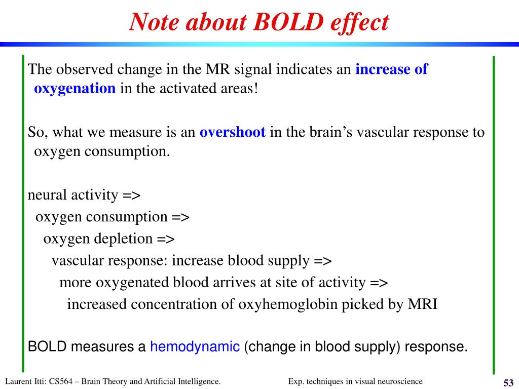 Note about BOLD effect