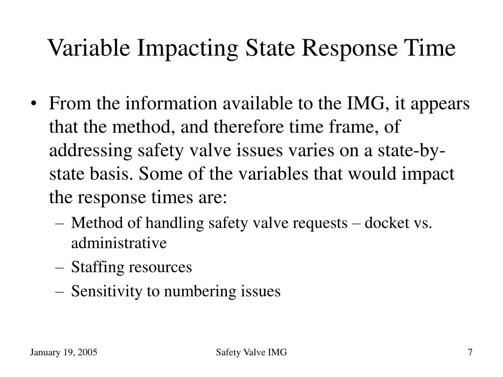 Variable Impacting State Response Time