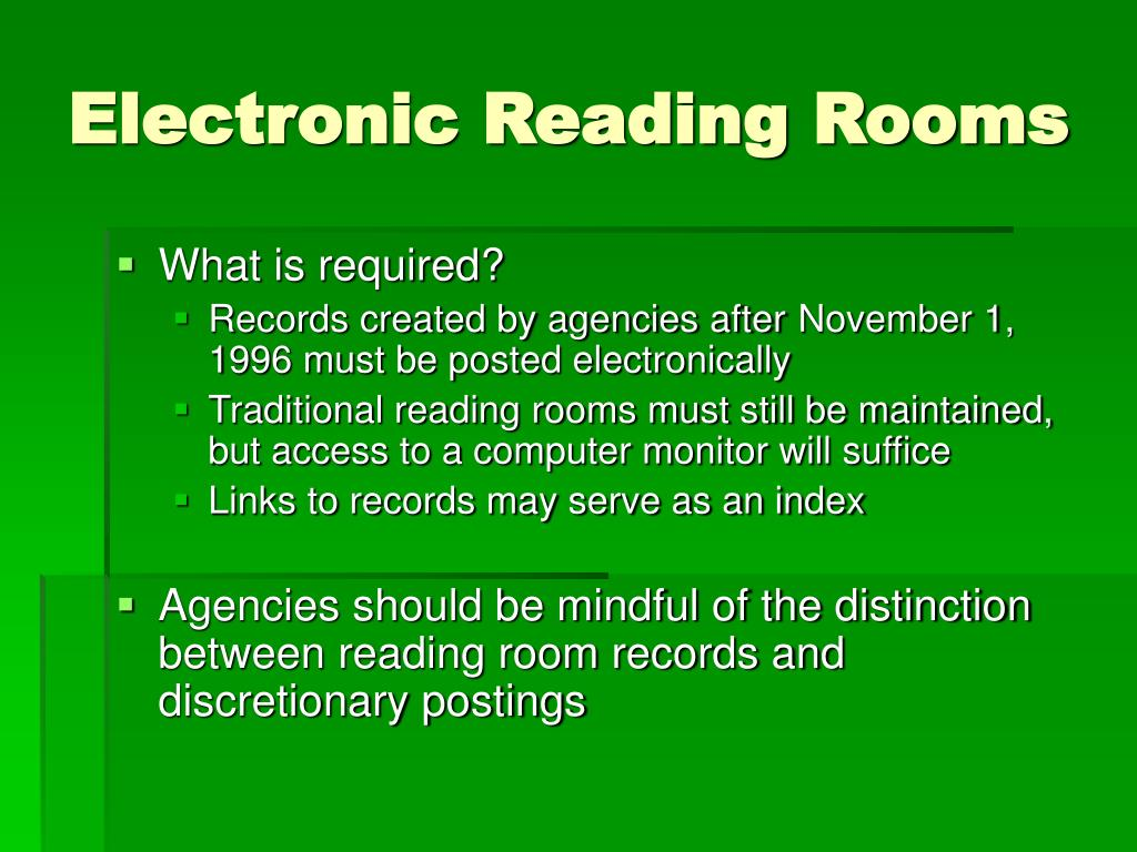 Electronic Reading Rooms