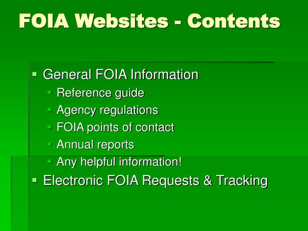 FOIA Websites - Contents
