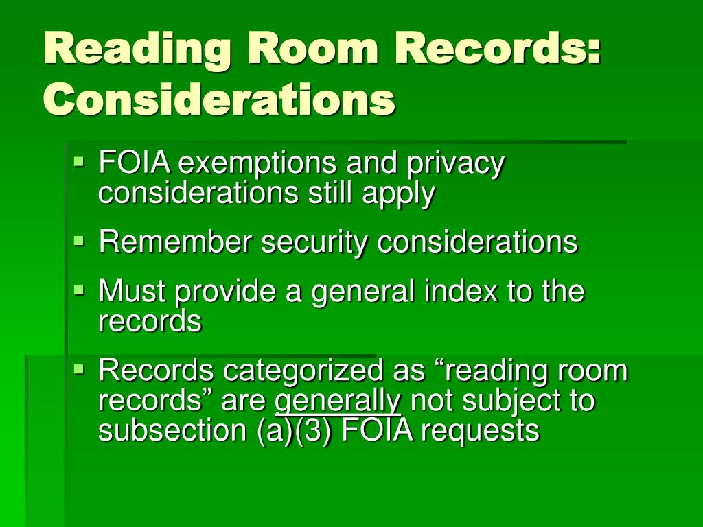 Reading Room Records: Considerations