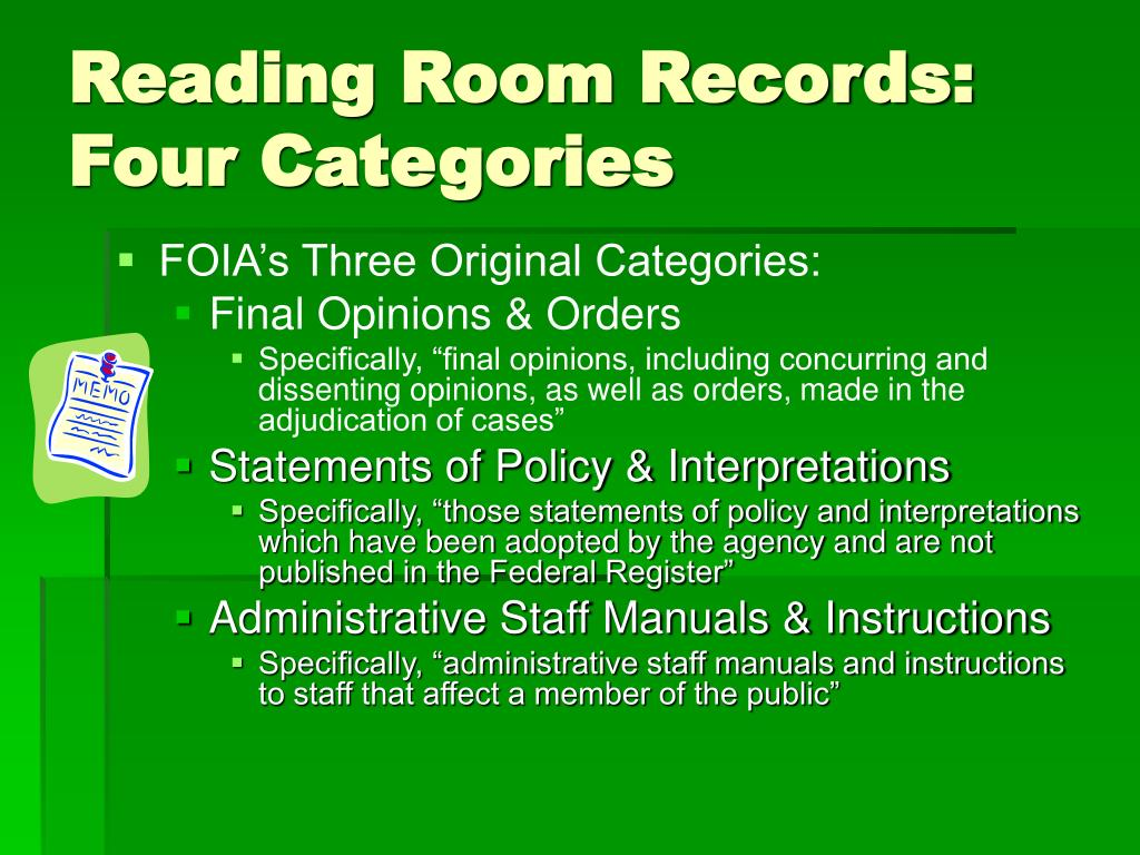 Reading Room Records: Four Categories