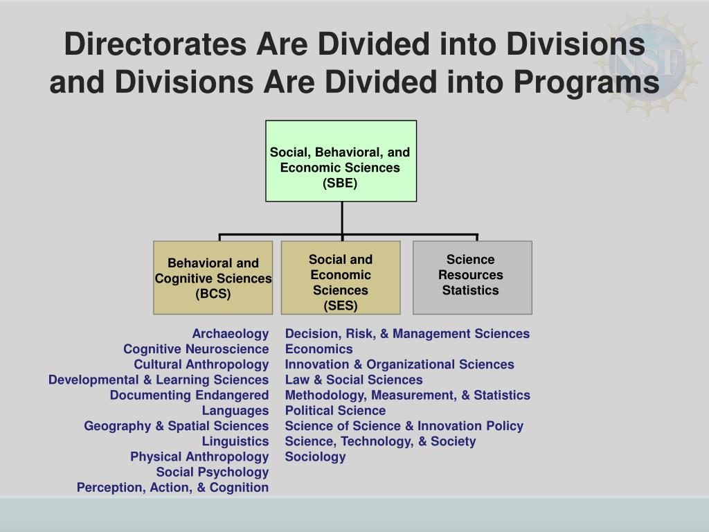 Directorates Are Divided into Divisions