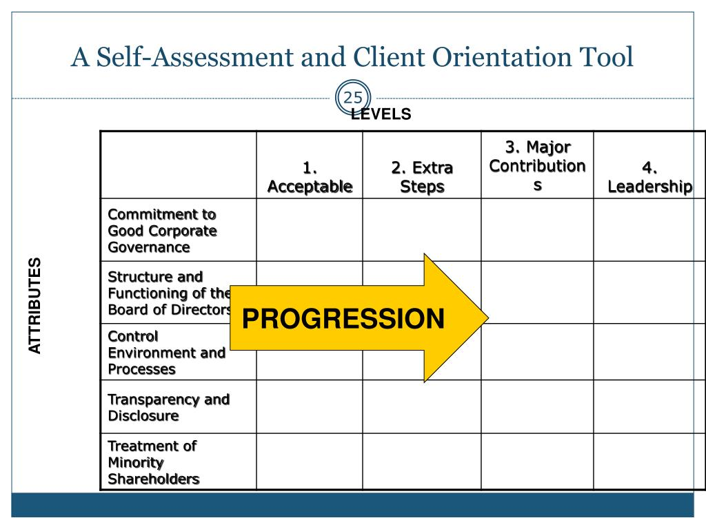 A Self-Assessment and Client Orientation Tool
