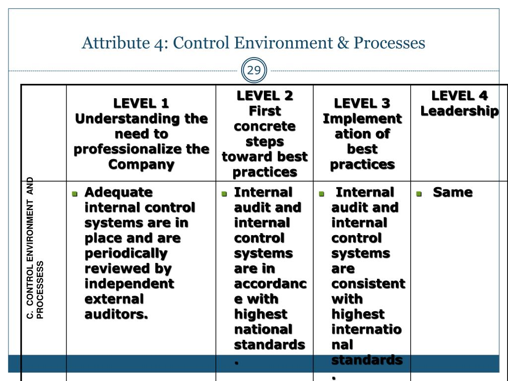 Attribute 4: Control Environment & Processes