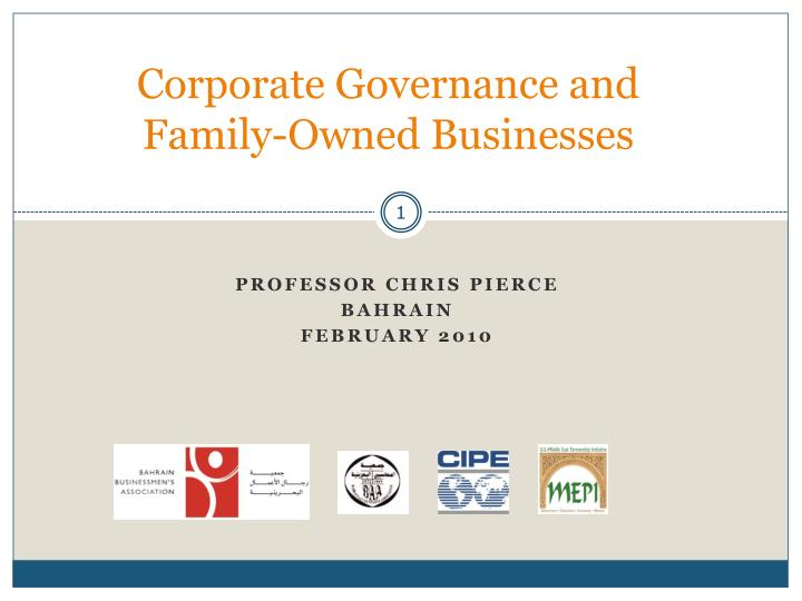 Corporate governance and family owned businesses