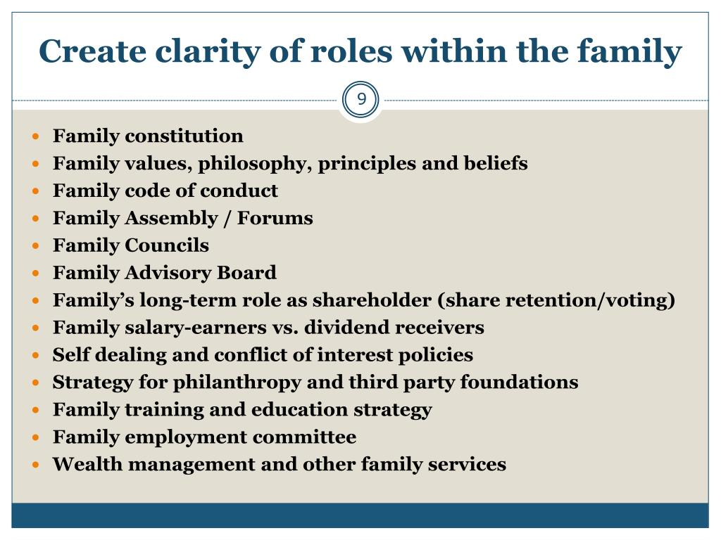 Create clarity of roles within the family