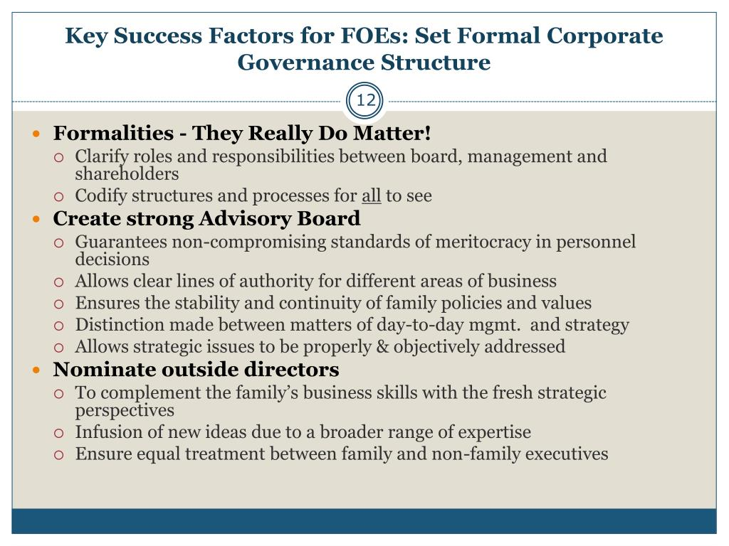 Key Success Factors for FOEs: Set Formal Corporate Governance Structure