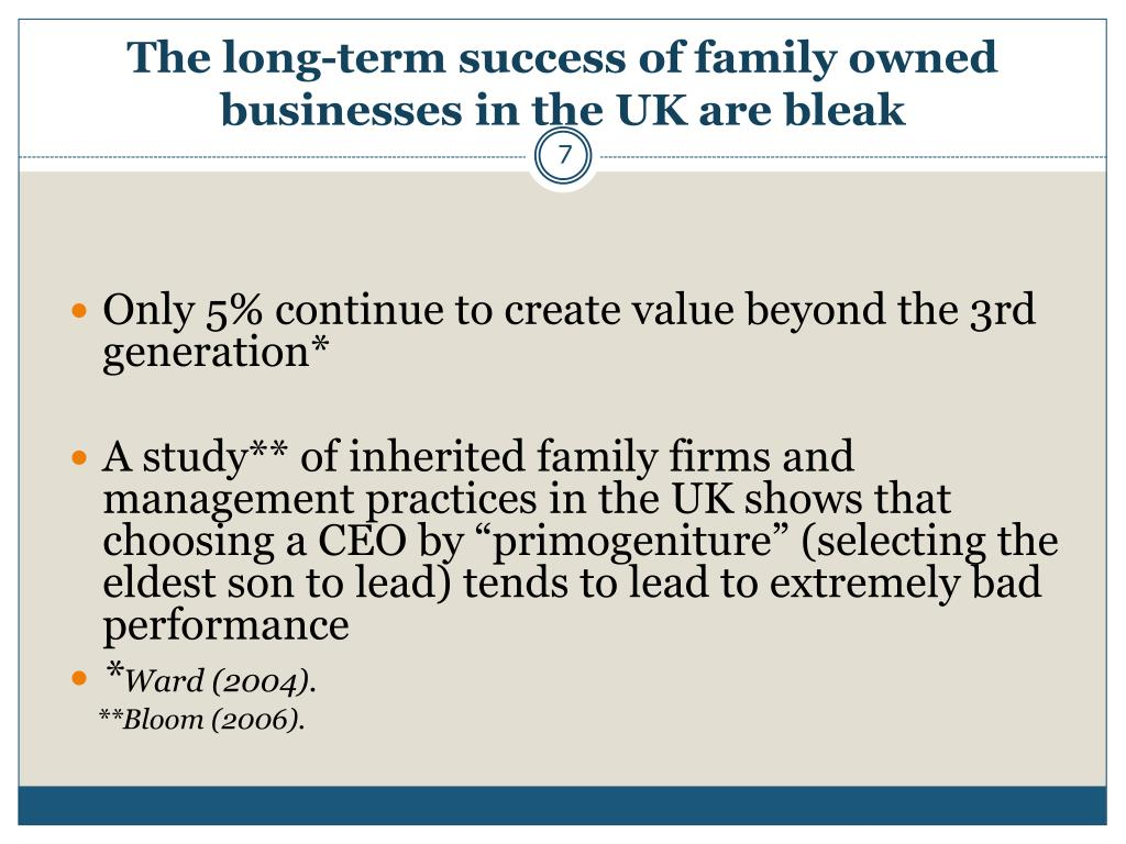 The long-term success of family owned businesses in the UK are bleak