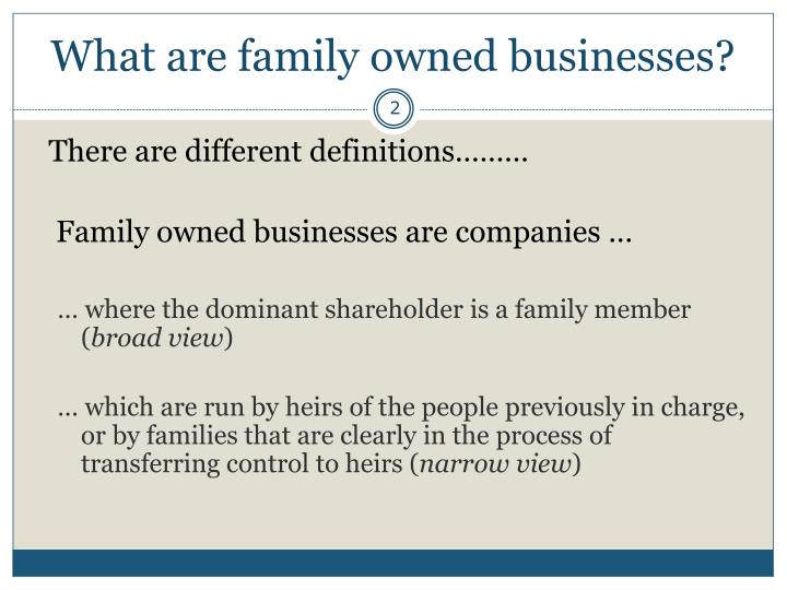 What are family owned businesses