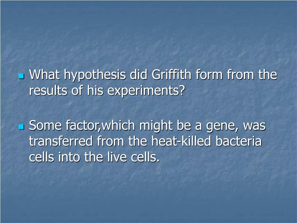 What hypothesis did Griffith form from the results of his experiments?