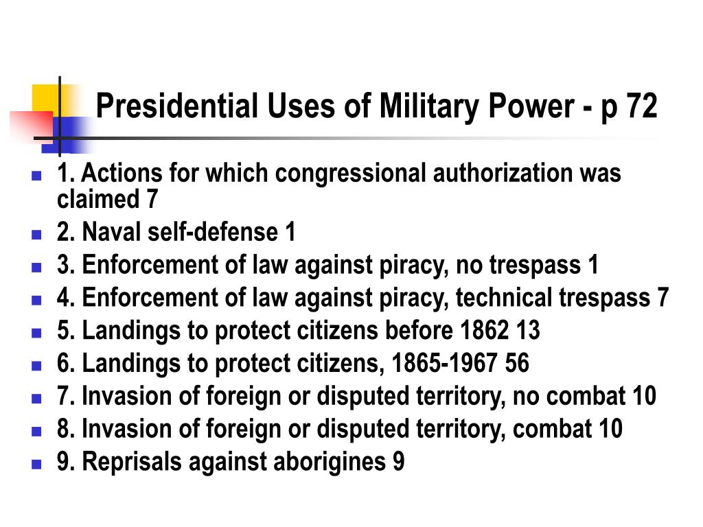 Presidential Uses of Military Power - p 72