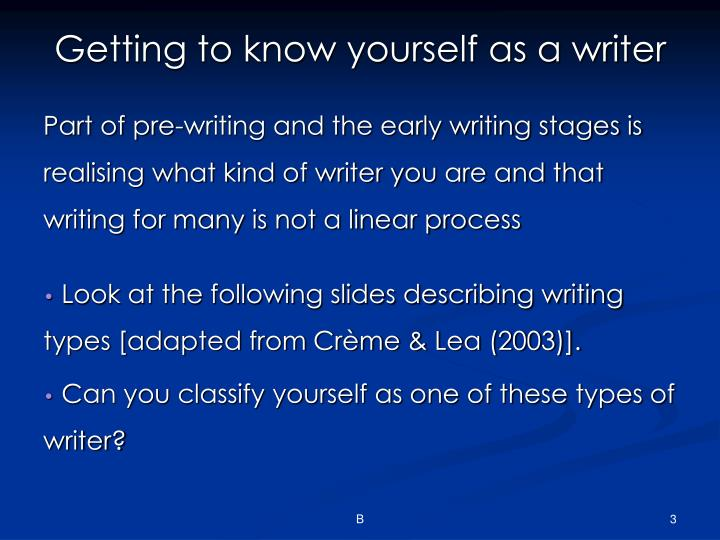 Getting to know yourself as a writer
