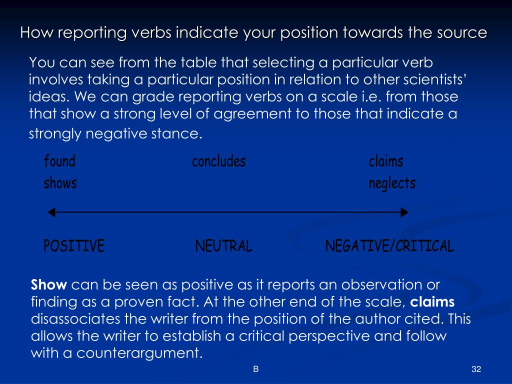 How reporting verbs indicate your position towards the source