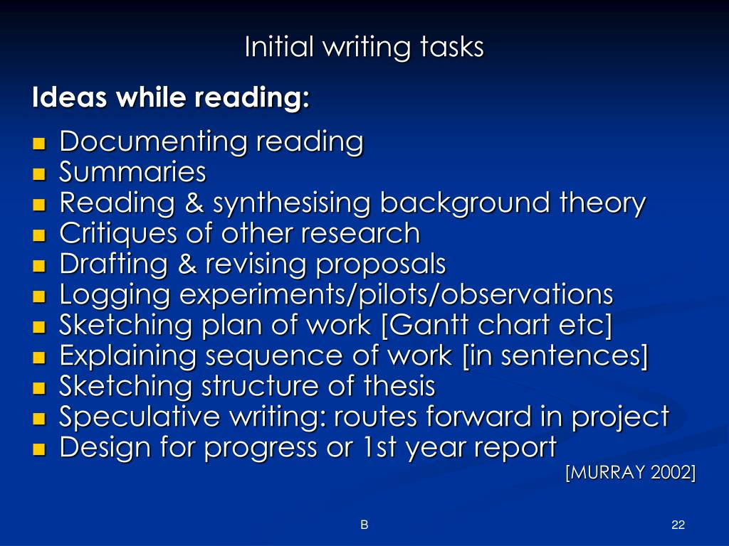 Initial writing tasks