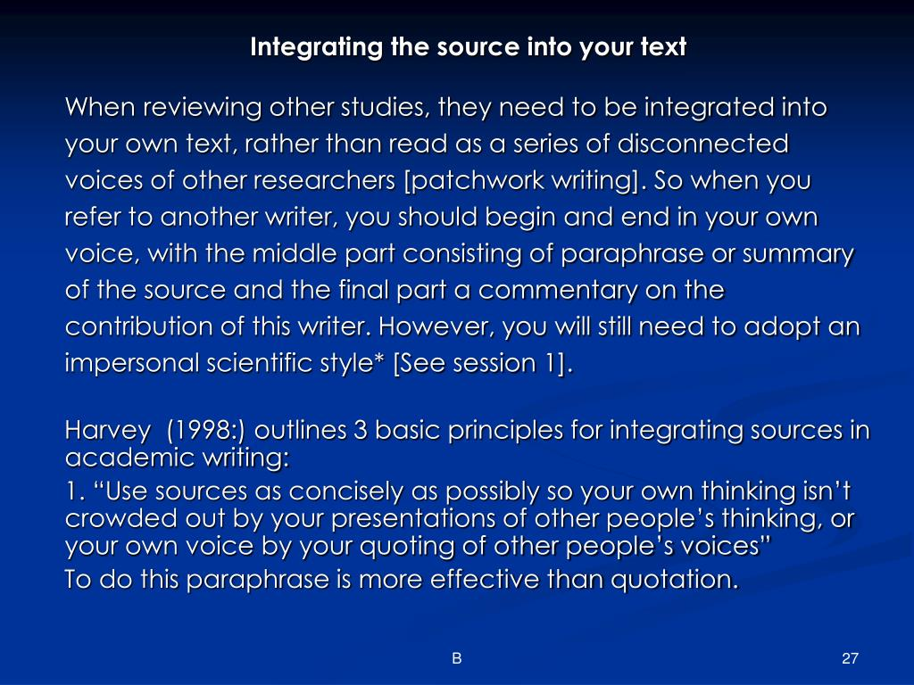 Integrating the source into your text