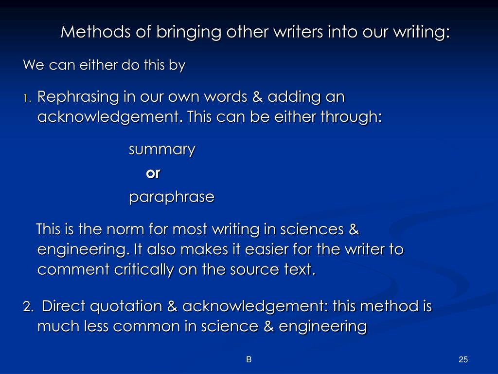 Methods of bringing other writers into our writing: