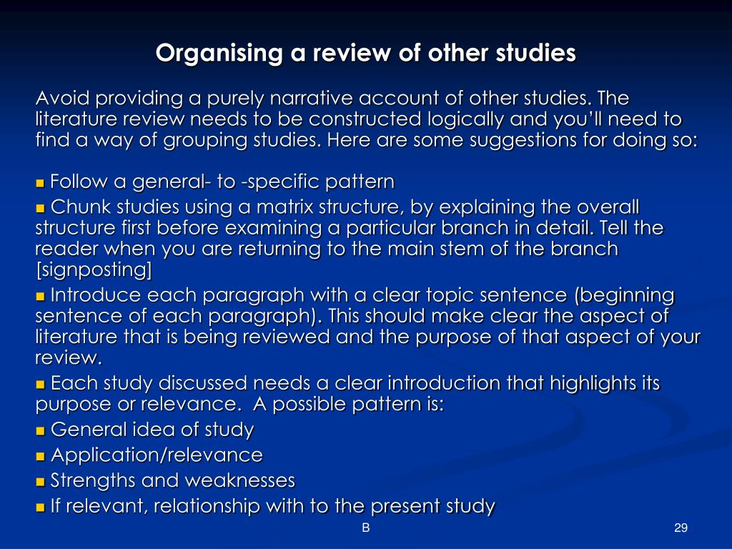 Organising a review of other studies
