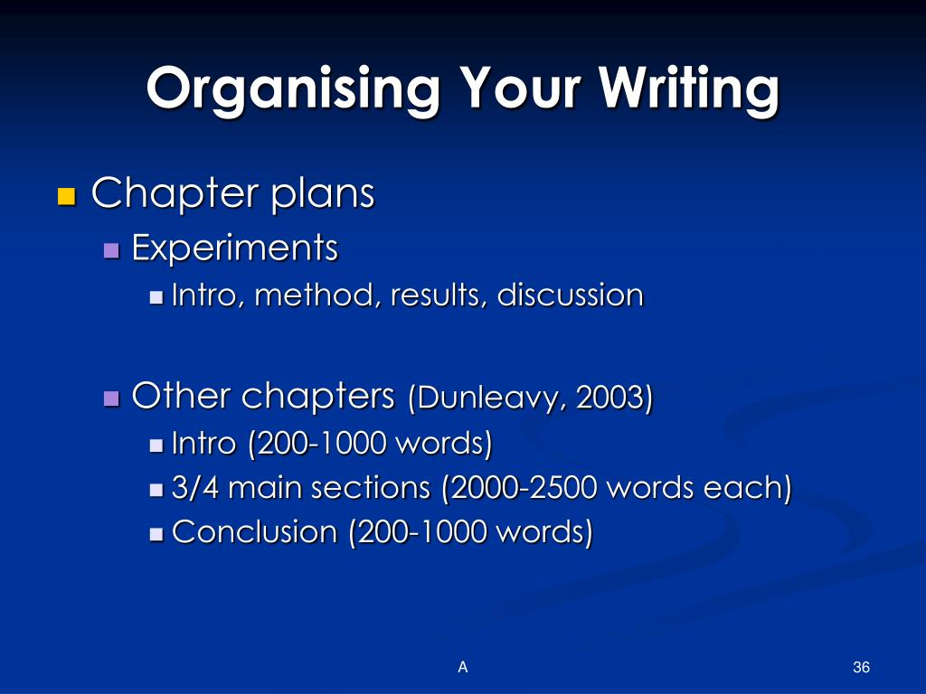 Organising Your Writing
