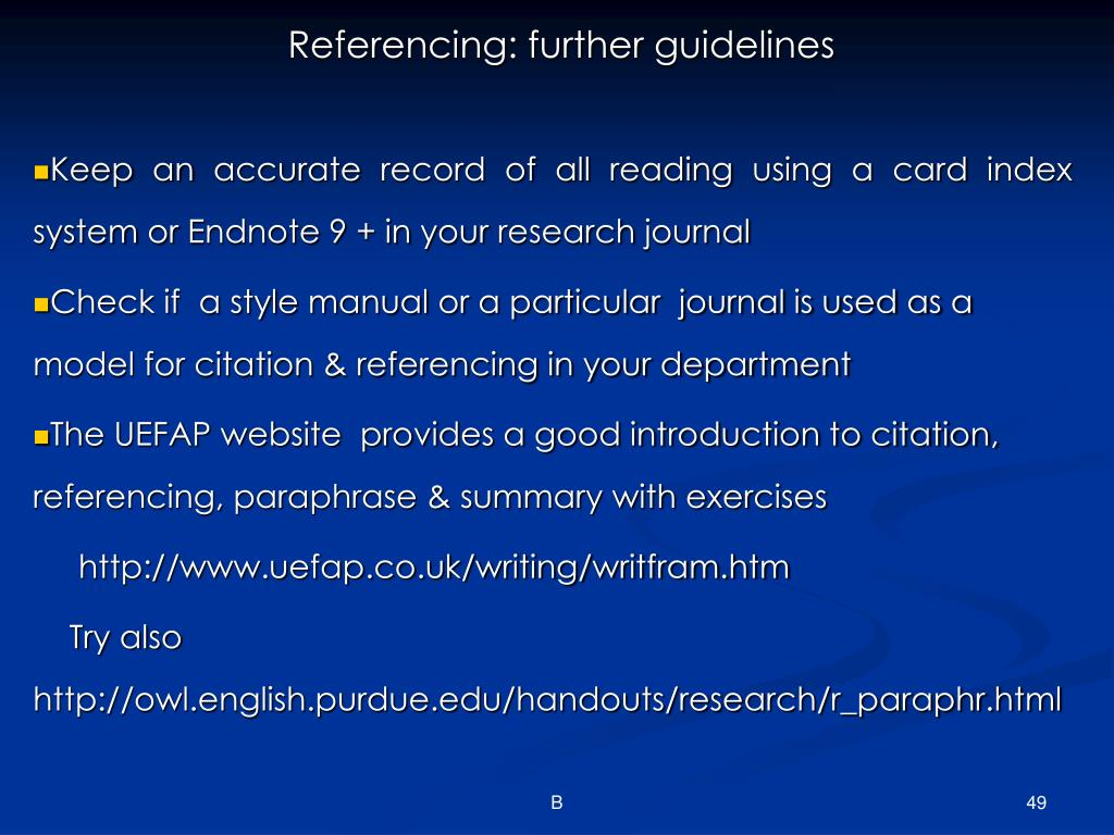 Referencing: further guidelines