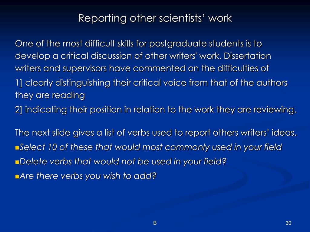 Reporting other scientists' work