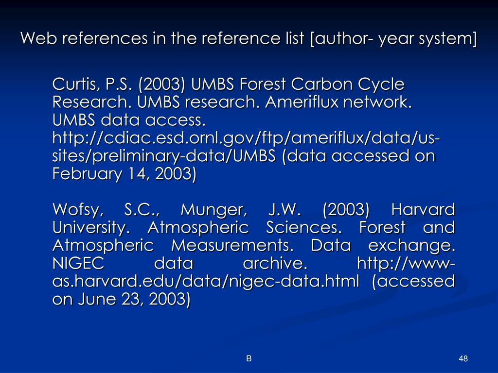 Web references in the reference list [author- year system]
