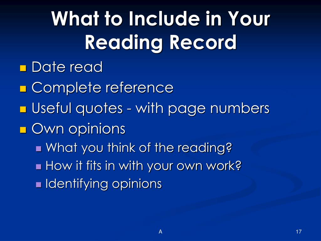 What to Include in Your Reading Record