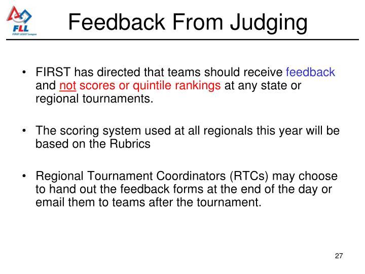 Feedback From Judging