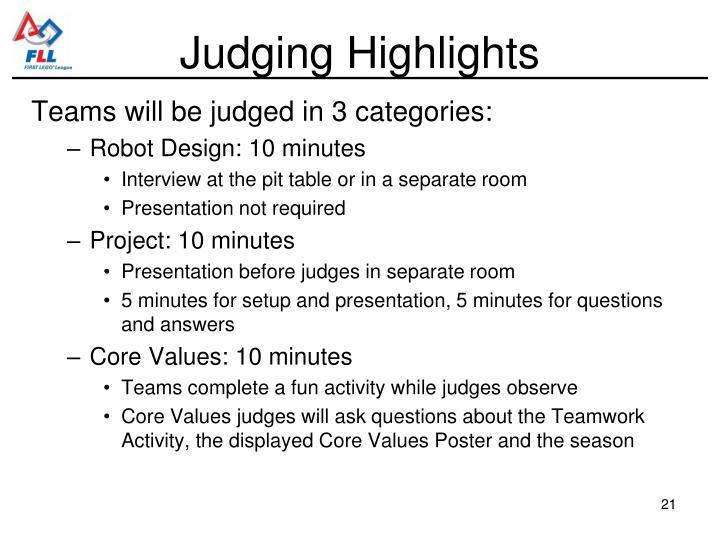 Judging Highlights