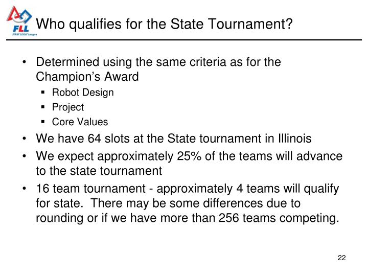 Who qualifies for the State Tournament?