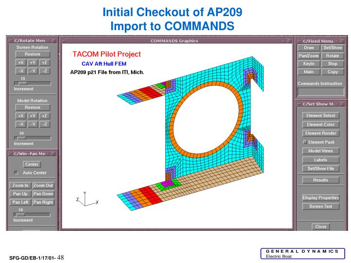 Initial Checkout of AP209 Import to COMMANDS