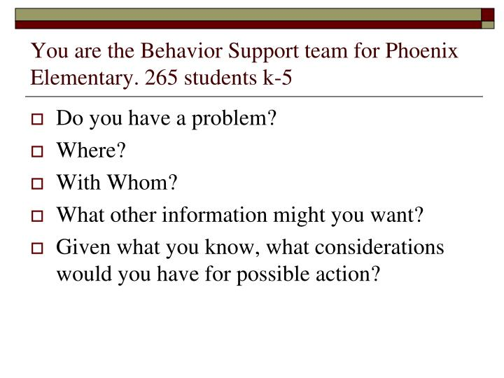 You are the Behavior Support team for Phoenix Elementary. 265 students k-5