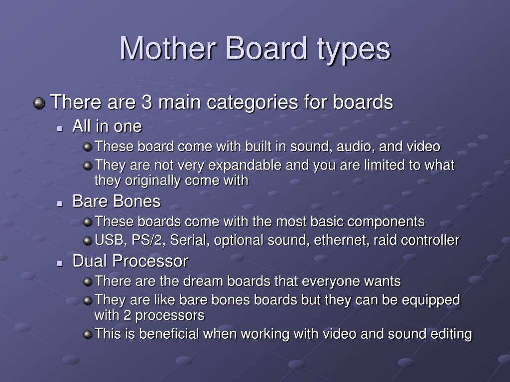 Mother Board types