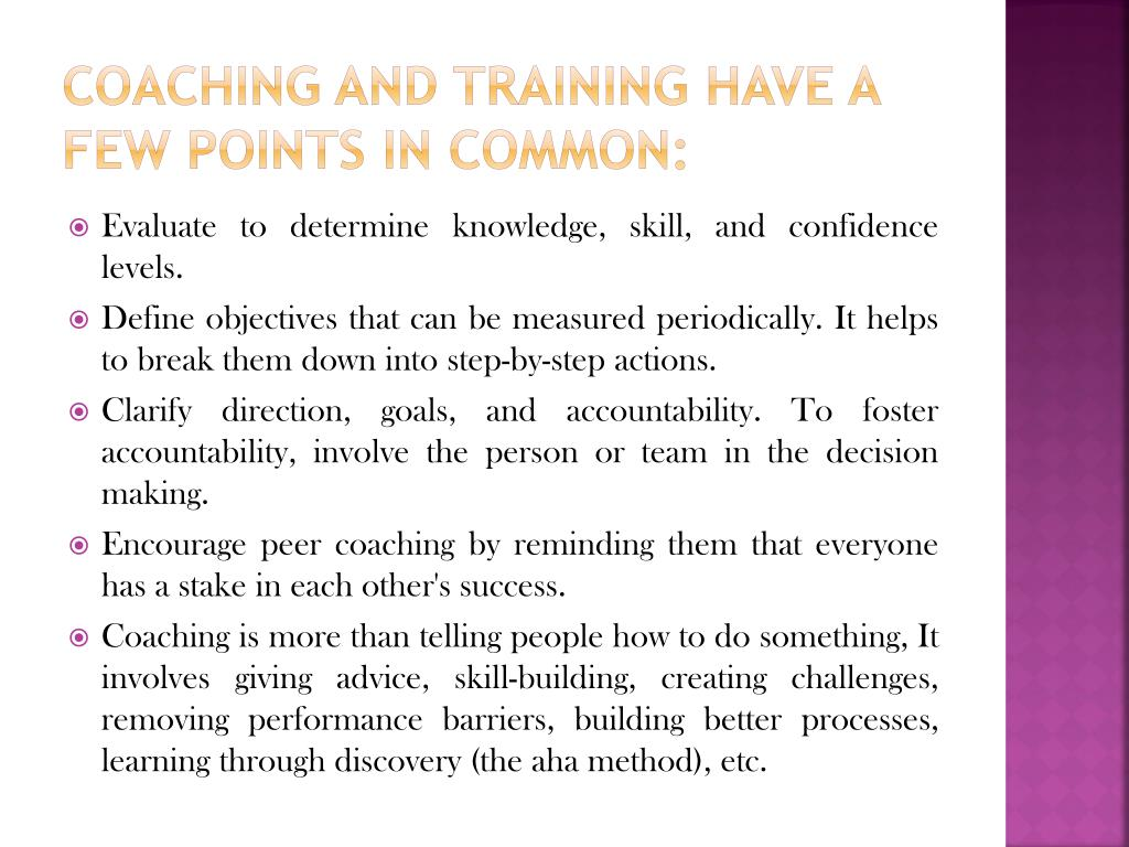 coaching and training have a few points in common: