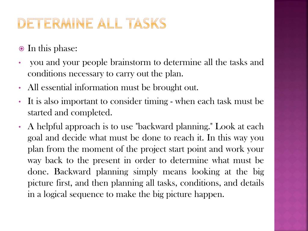 Determine all tasks