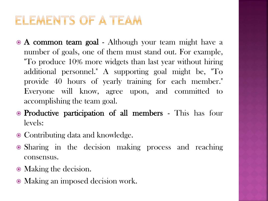Elements of a Team