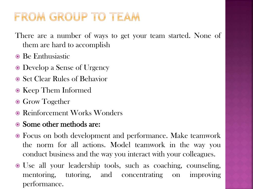 From Group To Team