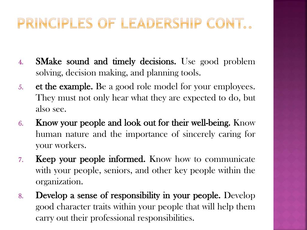 Principles of Leadership cont..