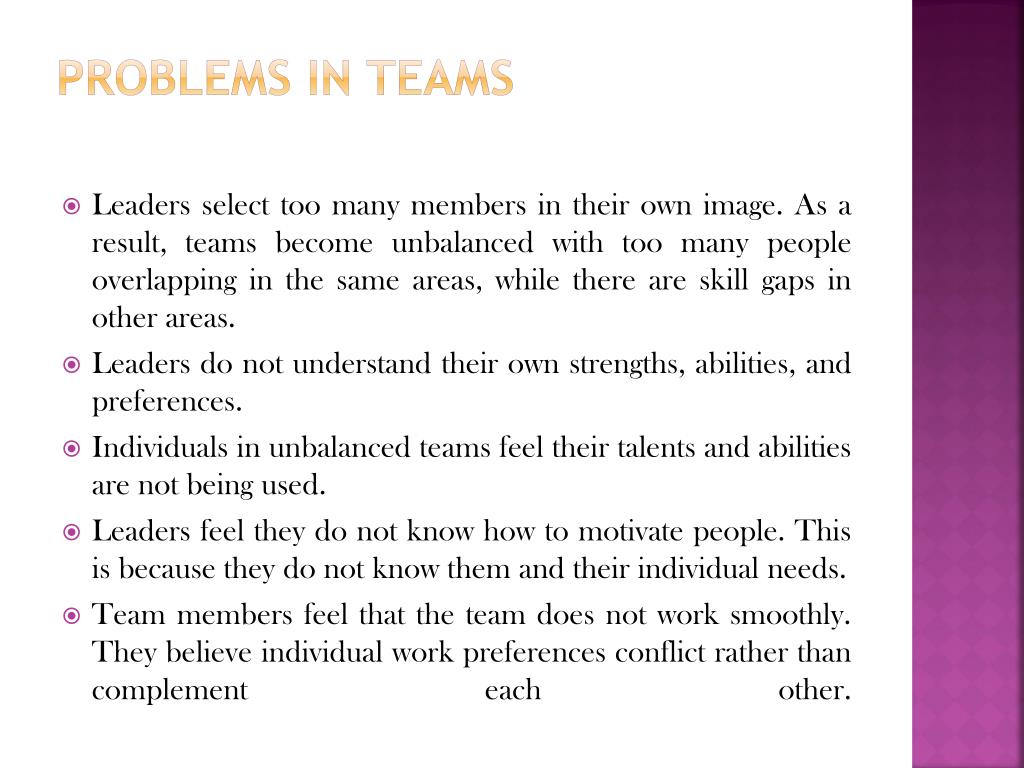 Problems in Teams