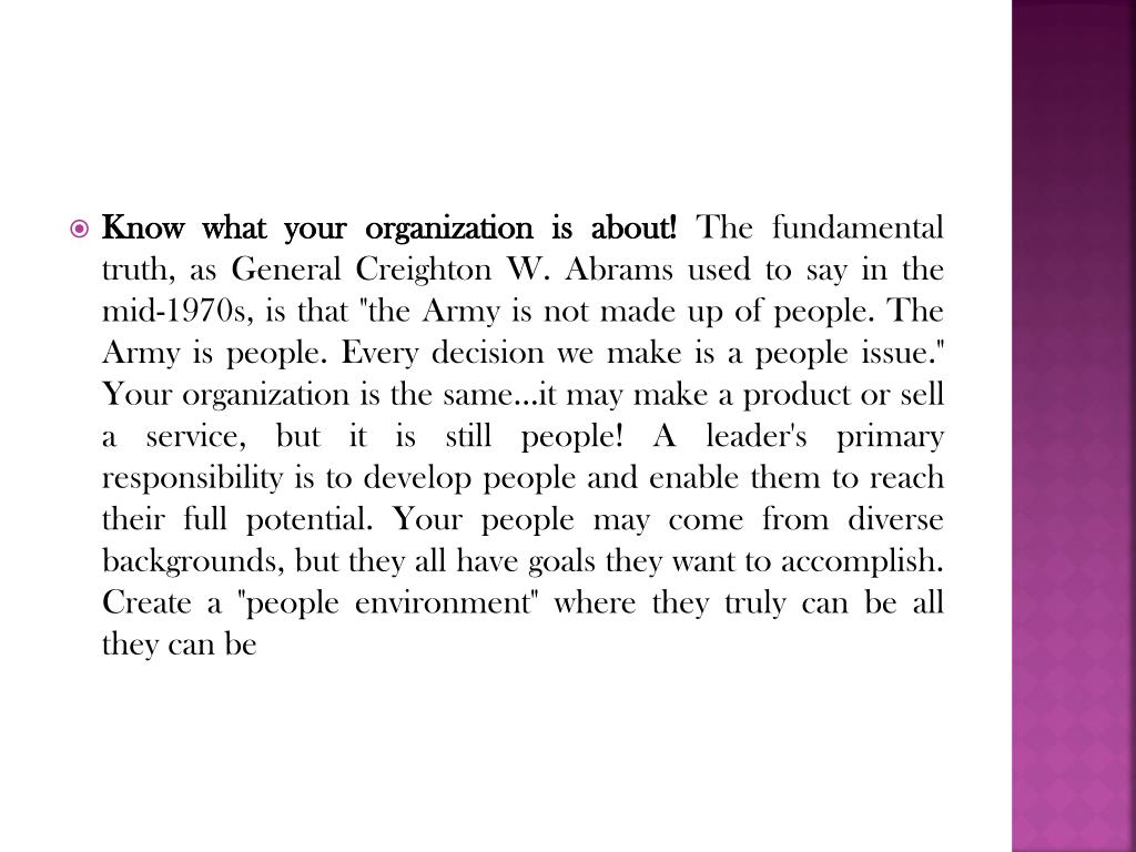 Know what your organization is about!