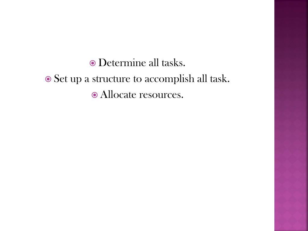 Determine all tasks.