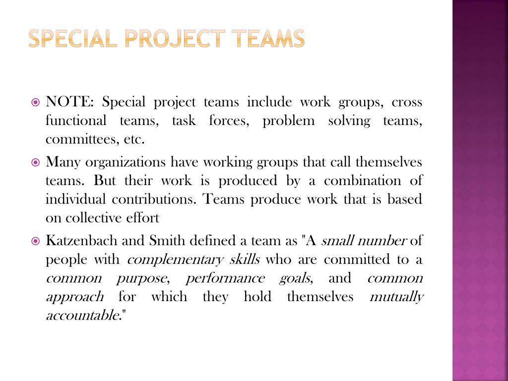 Special Project Teams