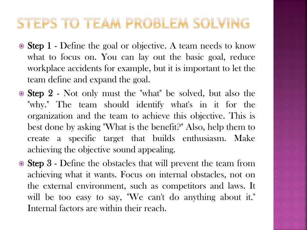 Steps to Team Problem Solving
