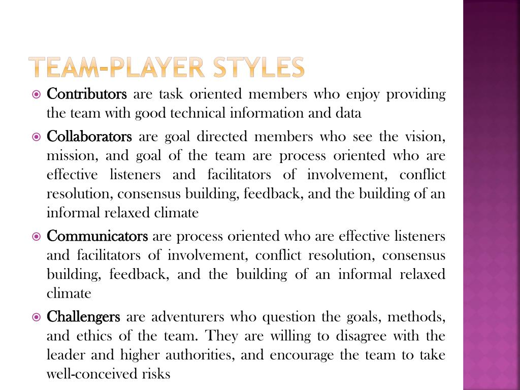 Team-player Styles