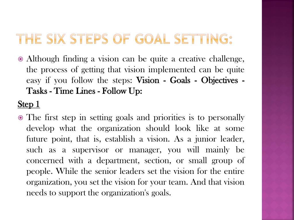 The Six Steps of Goal Setting:
