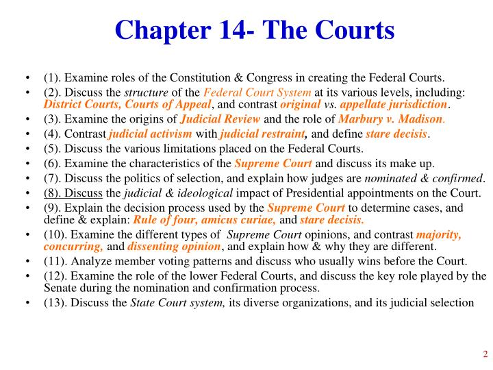 Chapter 14 the courts