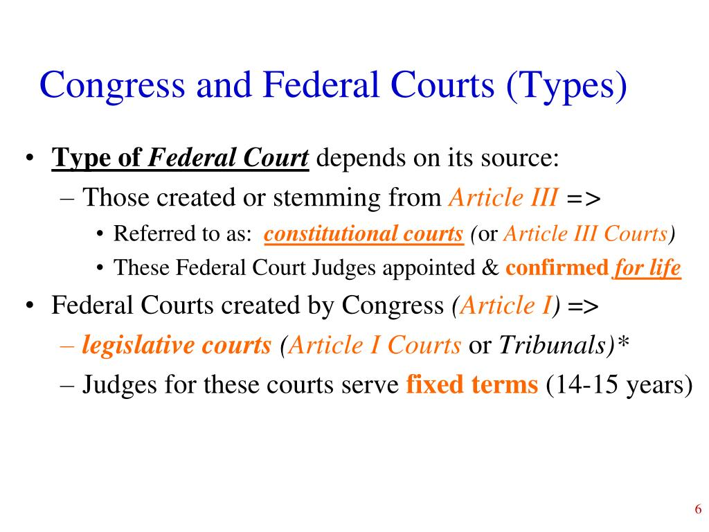 Congress and Federal Courts (Types)
